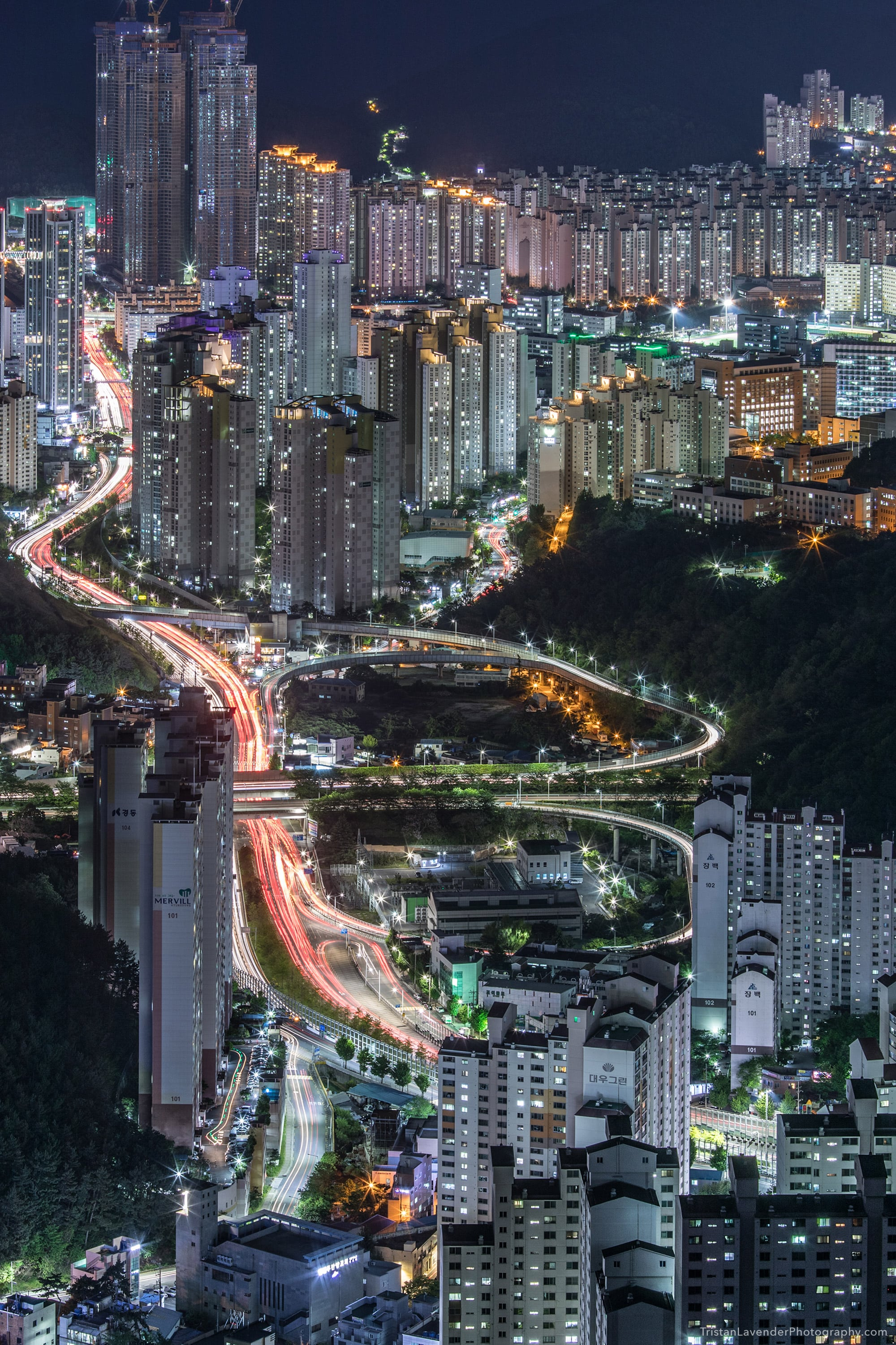 Busan Night view from mountain