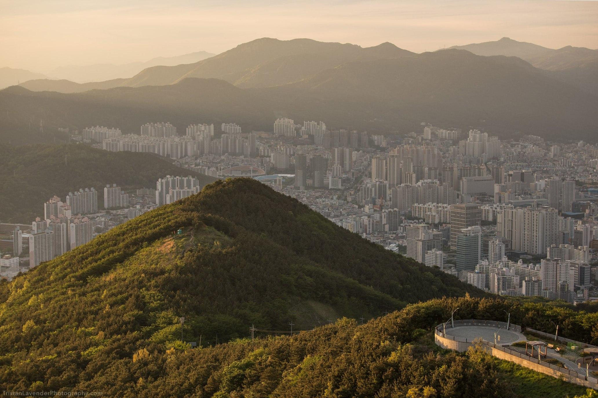 Busan mountain view at golden hour