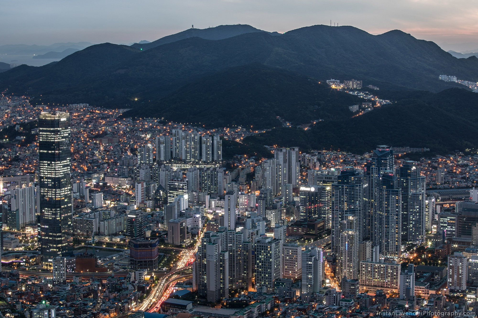 Busan city view at dusk
