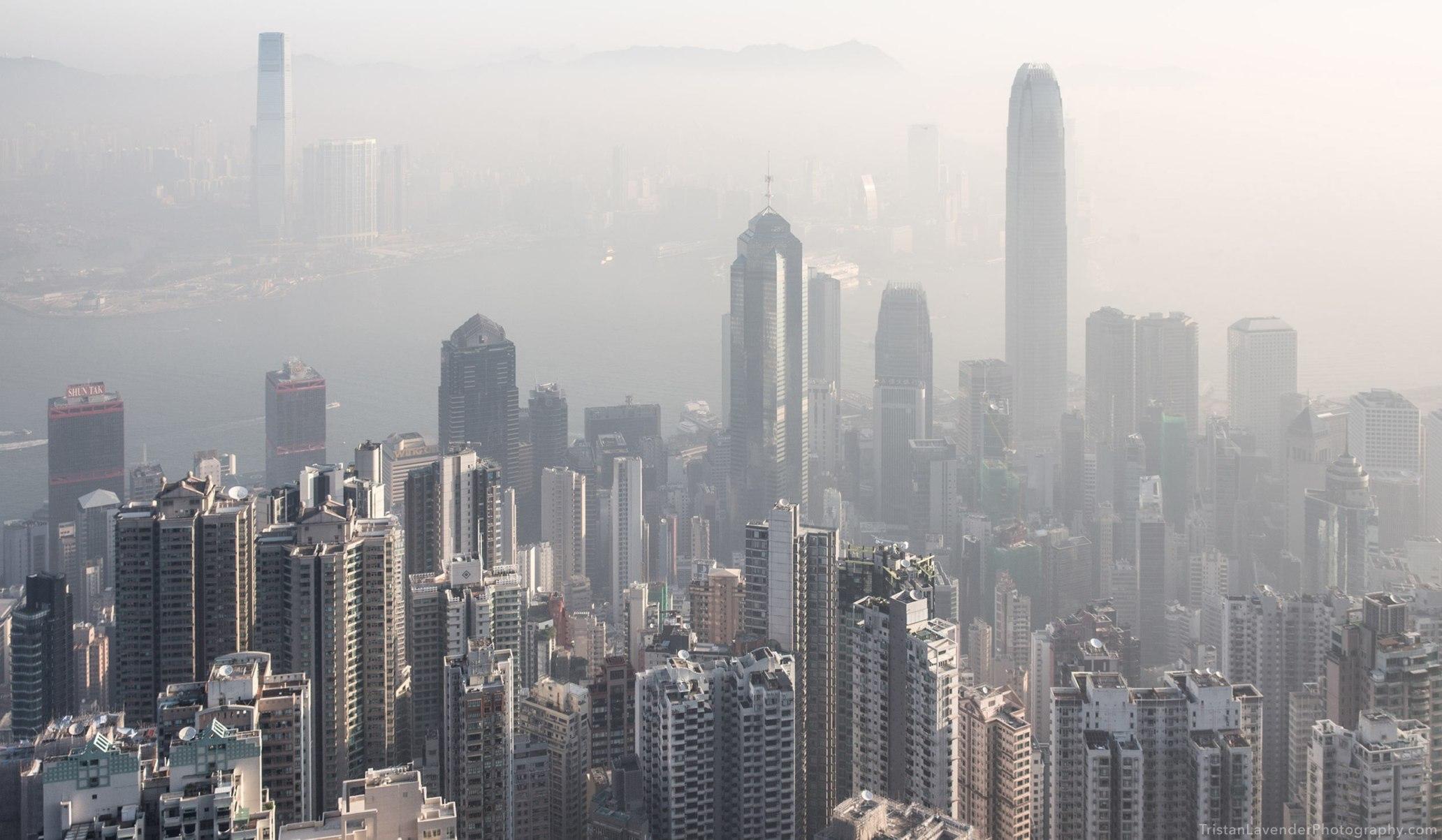 Hong Kong air pollution skyline